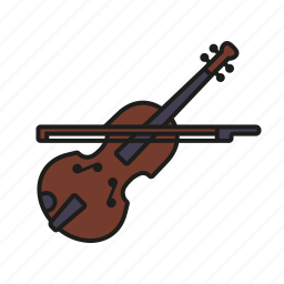 bow, class, education, music, musical instrument, school, violin icon