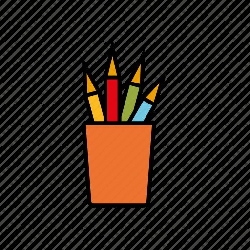 color pencil, crayons, drawing, education, mug, pencils, school icon