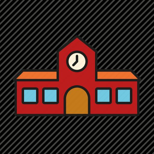 building, education, elementary school, school, school house icon