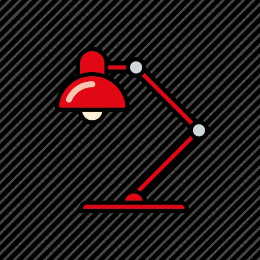 desk lamp, education, electric, homework, learning, light, school icon