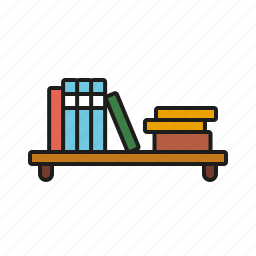 books, bookshelf, education, learning, library, reading, school icon