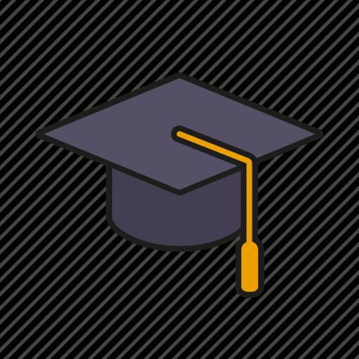 education, graduation, hat, high school, mortarboard, school, university icon
