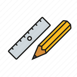 drawing, education, pencil, ruler, school, utensils icon