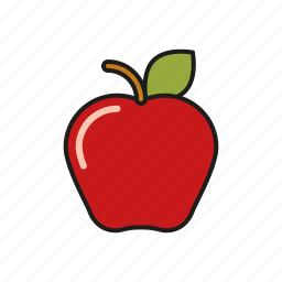 apple, education, elementary school, food, fruit, lunch, school icon