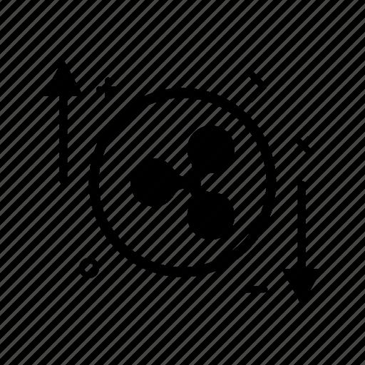 arrow, crypto, currency, money, progress, ripple, ripplecoin icon