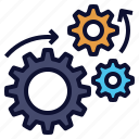 automation, engineering, gears, machine, processing icon