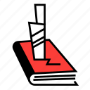book, genre, horror, knife, literary, literature, navigation icon