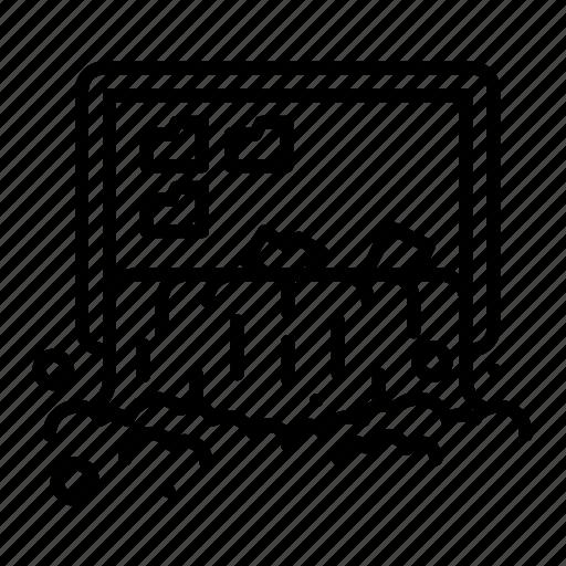 folder, screen, stroke, water, waterfall icon