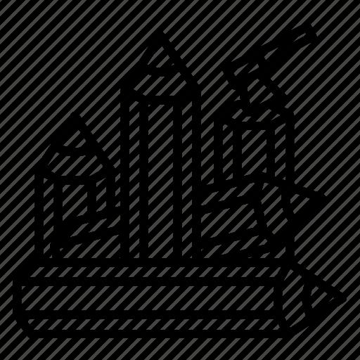 axe, firewood, pencil, stroke, tree icon