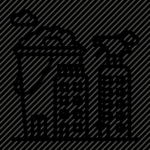 bucket, city, cleanser, design, stroke icon