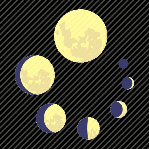 cartoon, circle, element, moon, progress, round, web icon