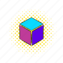 comics, cube, geometric, load, loading, rotated, technology icon