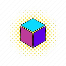 comics, cube, geometric, load, loading, rotated, technology icon