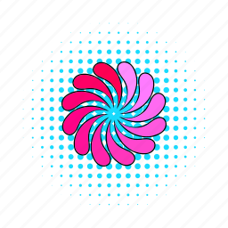 circle, comics, load, petal, pink, progress, round icon