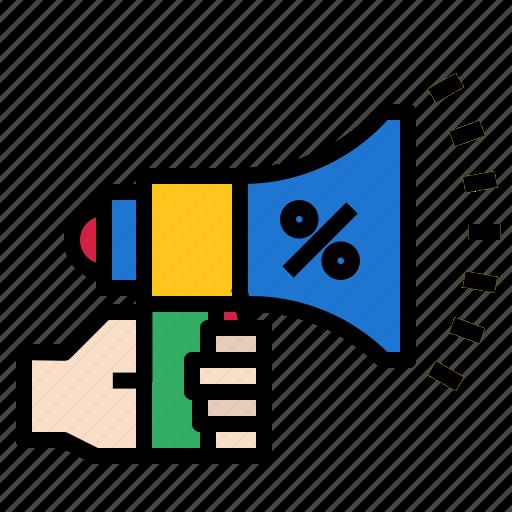 Percent, horn, megaphone icon