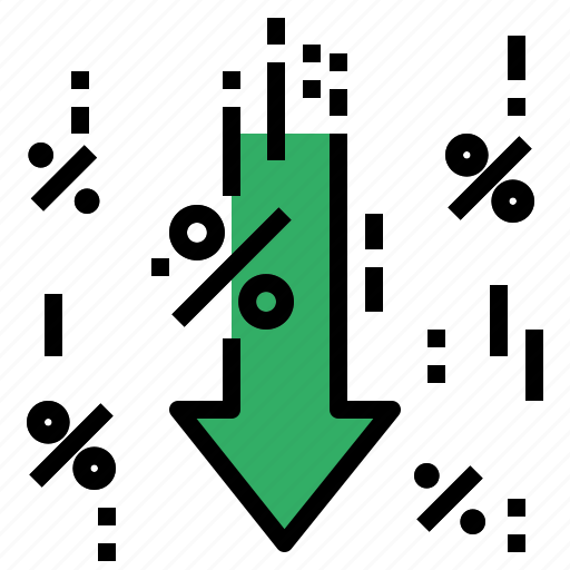 arrow, down, percent, rate icon
