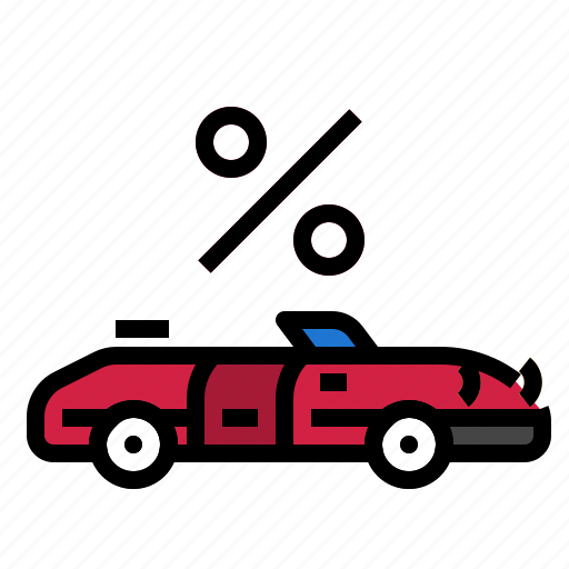 auto, car, percent, transport icon