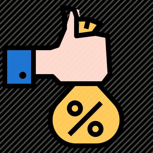 budgetbag, hand, money, percent icon