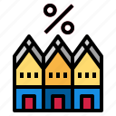 building, house, percent icon