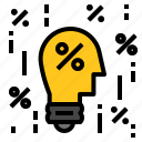 bulb, idea, percent icon