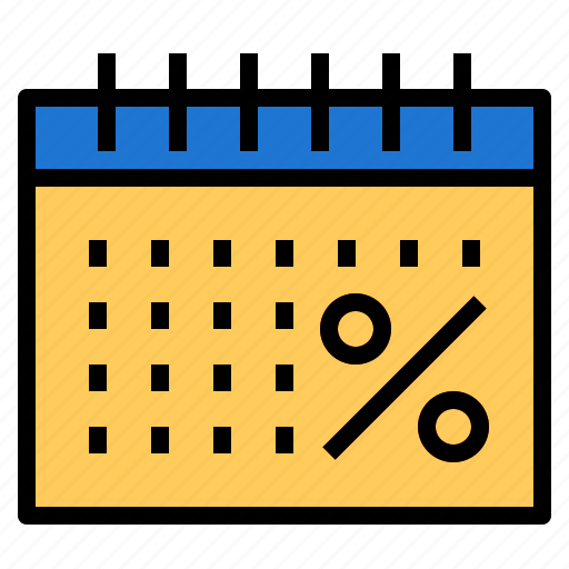 calendar, date, percent, time icon