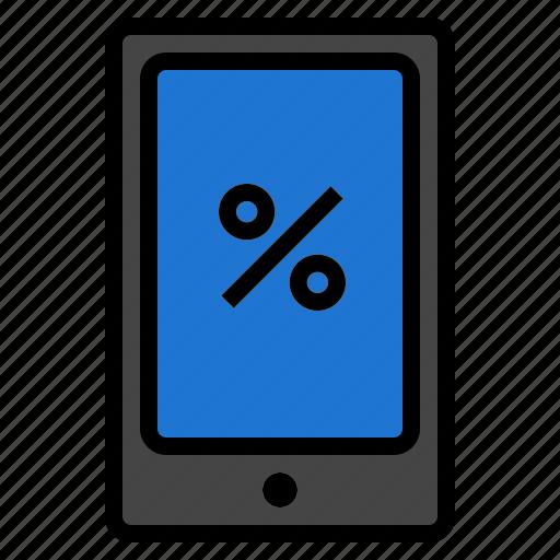 percent, phone, smart icon