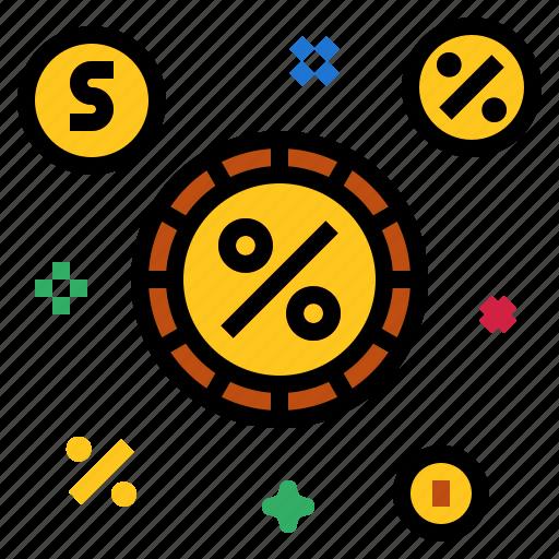 coins, money, percent icon