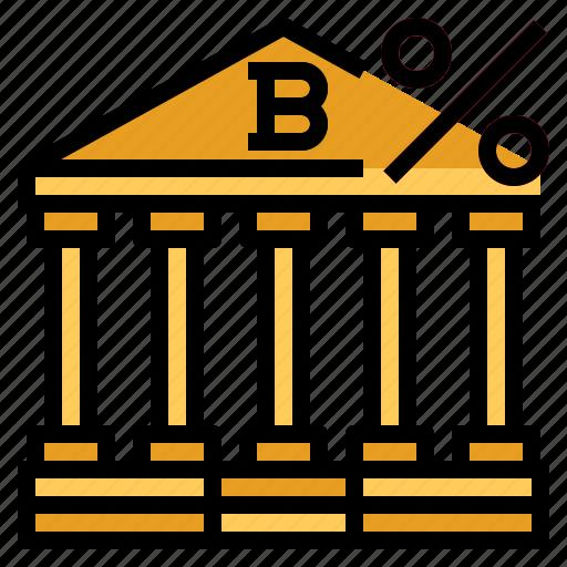 bank, percent icon