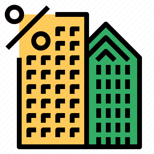 building, percent icon