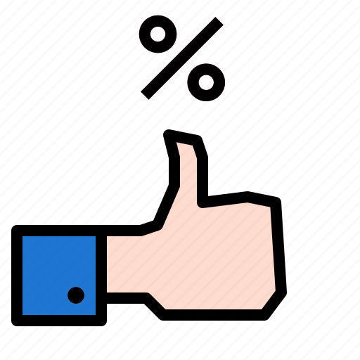 percent, thumbs, up icon