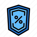 defend, percent, security, shield icon
