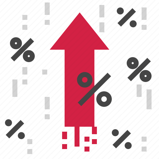 arrow, percent, rate, up icon