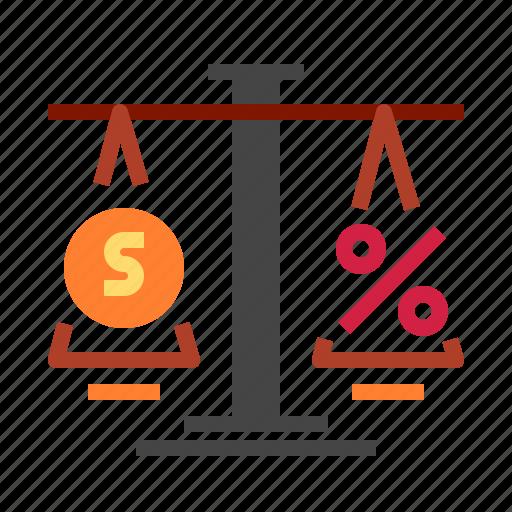 balance, justice, law, percent icon