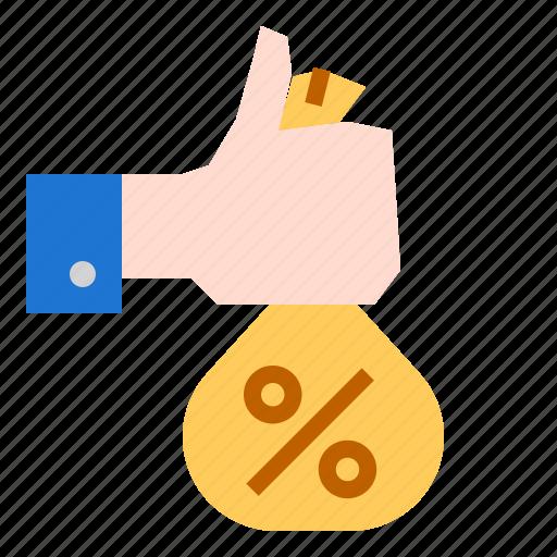 hand, money, percent icon