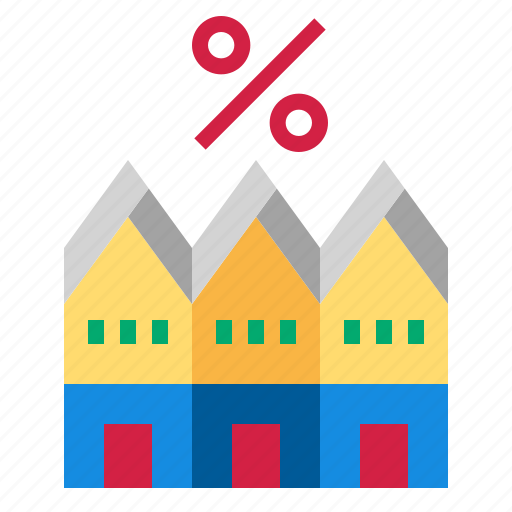 house, percent, townhouse icon