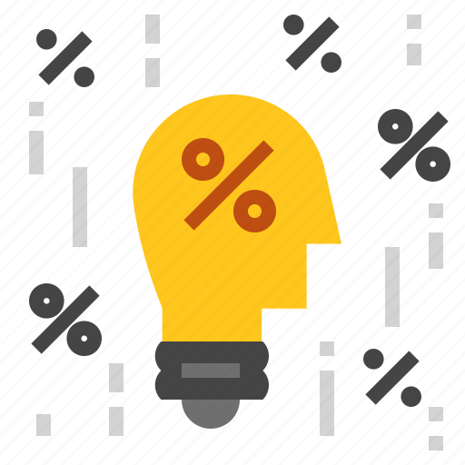 bulb, idea, percent icon