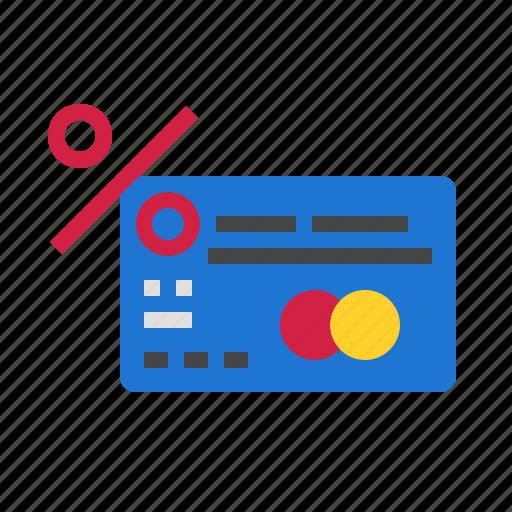 card, credit, percent icon