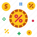 coins, money, percent icon
