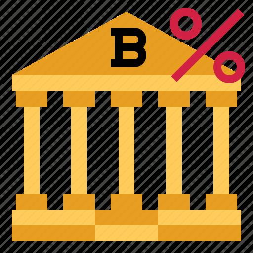 bank, percent, saving icon