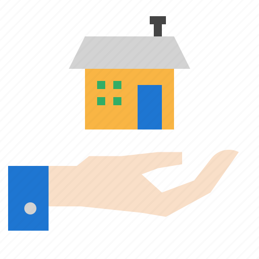 hand, house, percent icon