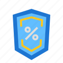 defend, percent, shield icon