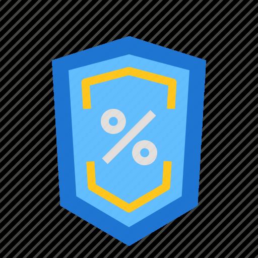 defend, percent, shield icon