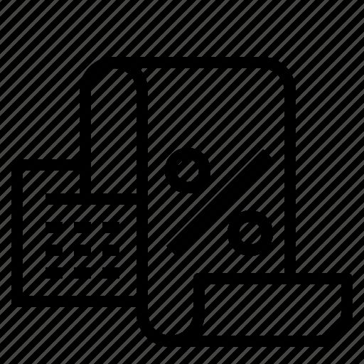bill, percent, register icon