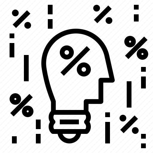 Bulb, percent, idea icon