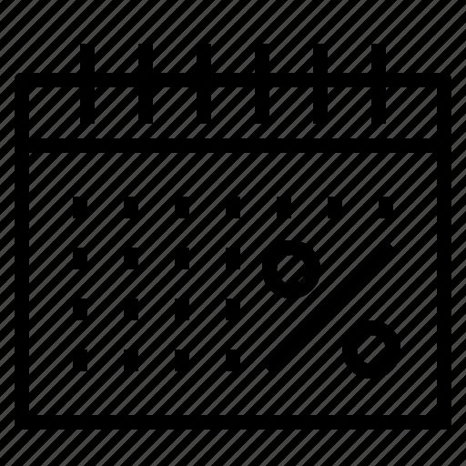 calendar, percent icon