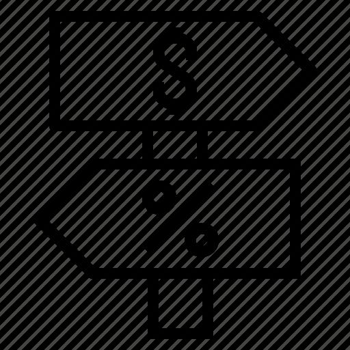 percent, sign, street icon