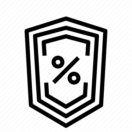 percent, security, shield icon