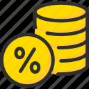 coin, credit, debt, finance, loan, percentage, stack