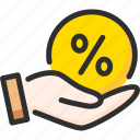 credit, debt, finance, hand, hold, loan, percentage