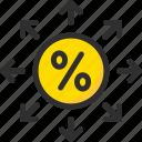 arrange, arrow, credit, debt, finance, loan, percentage